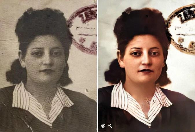 Jadwiga Kejzman, Karen's grandmother (Image on the right enhanced and colorized on MyHeritage)
