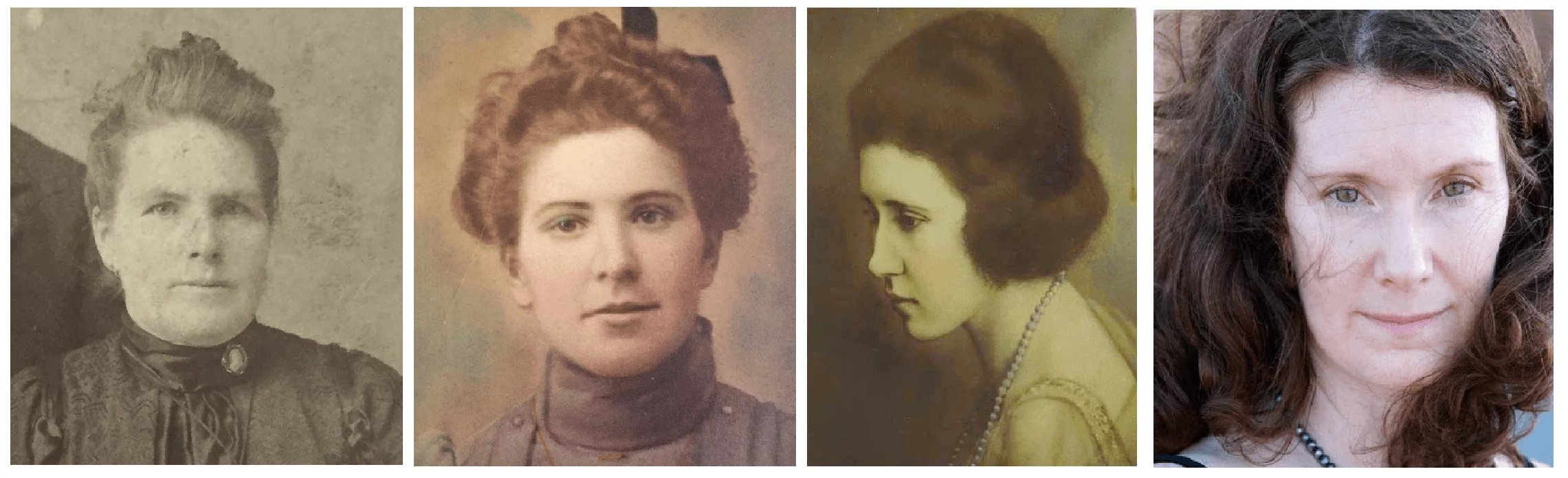 """From left, Margie's great-great-grandmother Mary Maher, great-grandmother Margaret """"Maggie"""" (Maher) McKeown, grandmother Margaret McKeown, and Margie Wirth."""