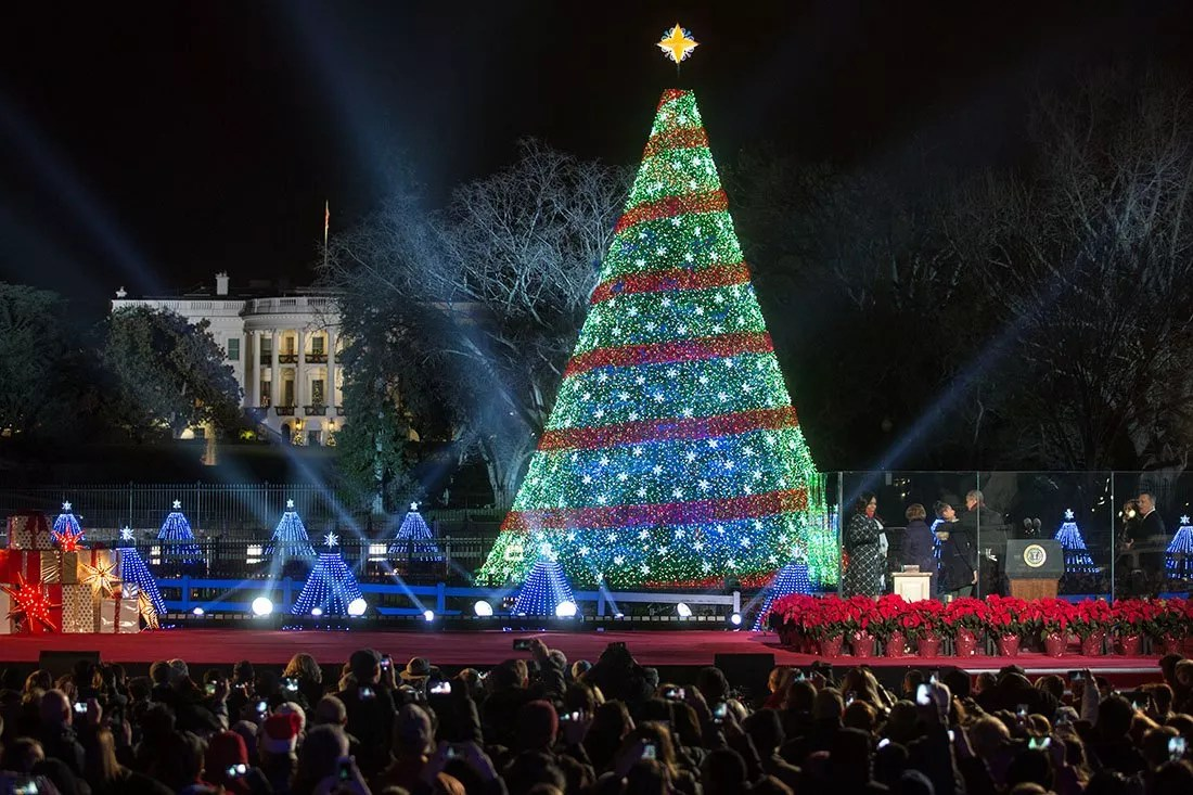 Christmas Tree lights: National Christmas Tree lighting on the Ellipse in Washington, D.C., Dec. 4, 2014. (Official White House Photo by Lawrence Jackson)