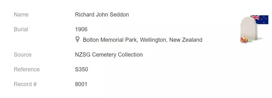 Burial Record of Richard John Seddon [Credit: MyHeritage New Zealand, Index of Burials, 1840–2008]