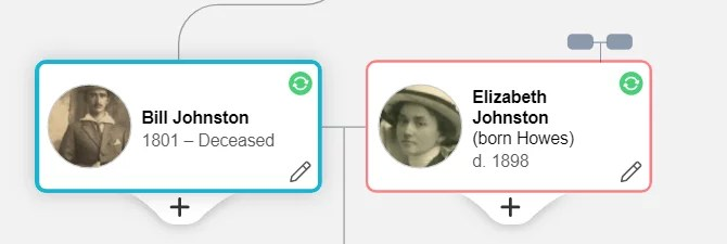 Example of deceased individuals on a family tree