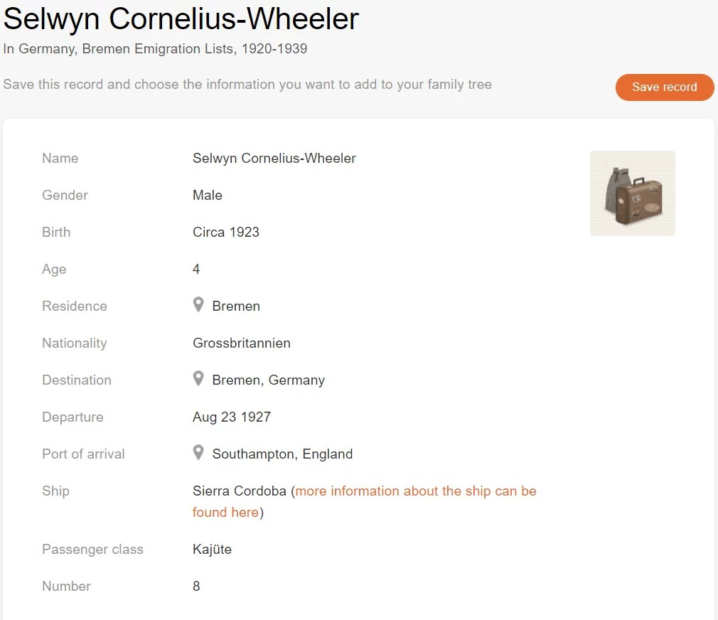 Passenger record of Selwyn Cornelius-Wheeler [MyHeritage: Germany, Bremen Emigration Lists, 1920–1939]