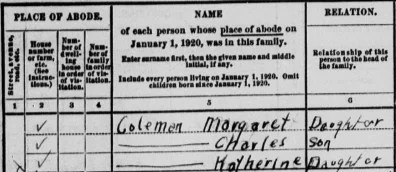 Katherine listed in the 1920 U.S. Census from MyHeritage's collection