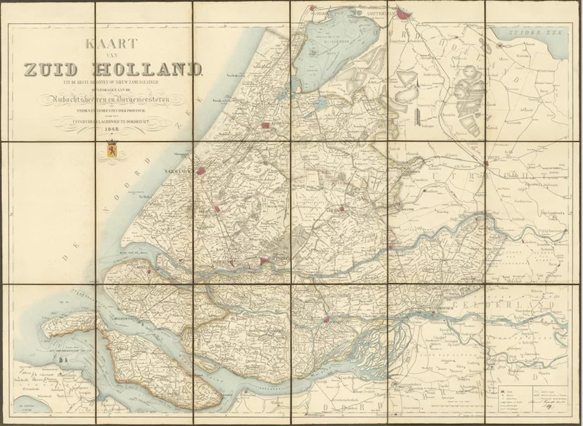 Map of South Holland, 1848. [Credit: Nationaal Archief]