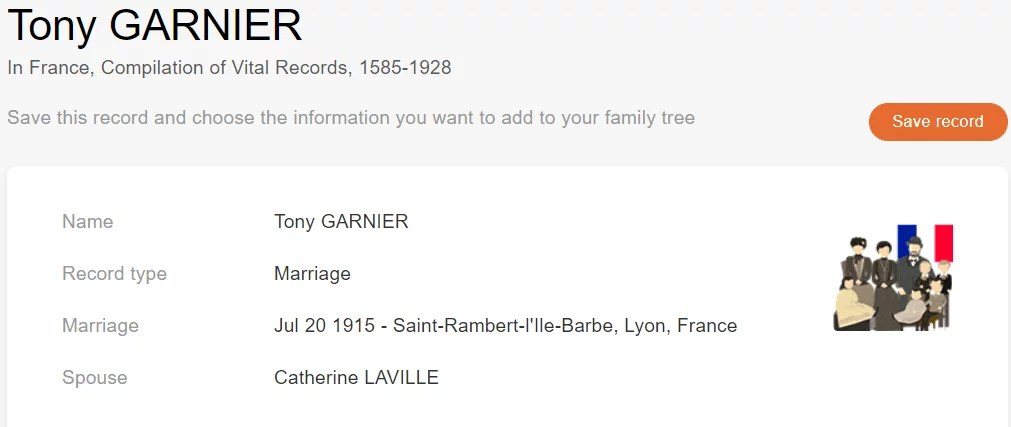 Marriage record of Tony Garnier and Catherine Laville, 1915. [Credit: MyHeritage France, Compilation of Vital Records, 1585–1928]