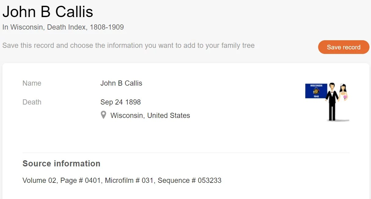 Death record of John B. Callus, [MyHeritage Wisconsin, Death Index, 1808–1909]