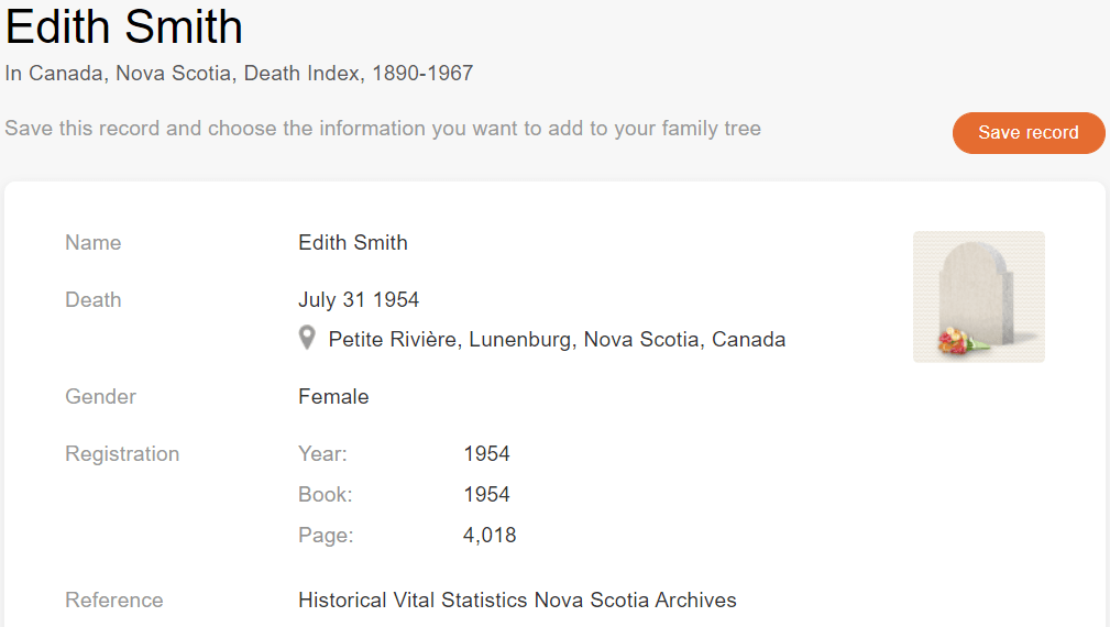 Death record of Edith Smith [Credit: MyHeritage Canada, Nova Scotia, Death Index, 1890–1967]