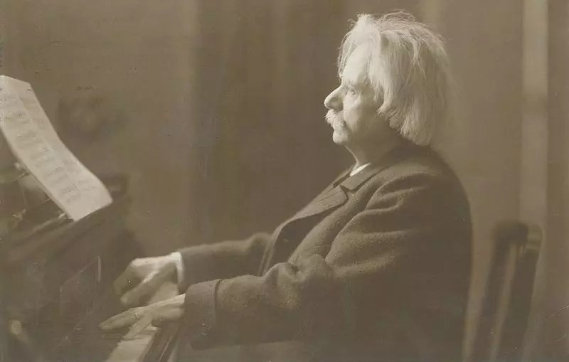 Edvard Grieg on the Grand Piano, circa 1900. [Credit: The Oslo Museum]