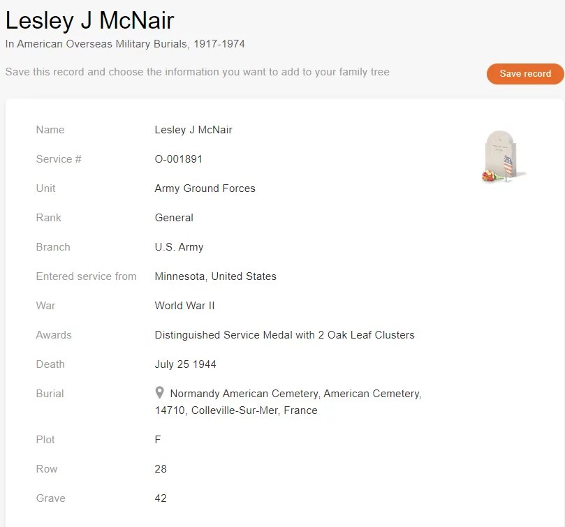 Military Burial record of Lesley J. Mcnair [Credit: American Overseas Military Burials, 1917–1974]