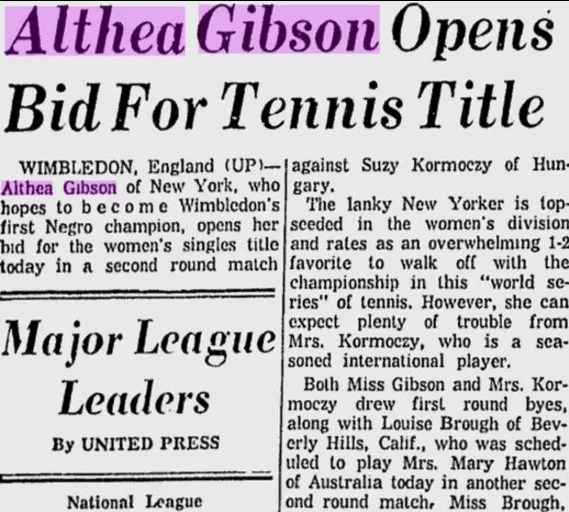 Article about Althea Gibson in the Beaver Valley Times, June 25, 1957
