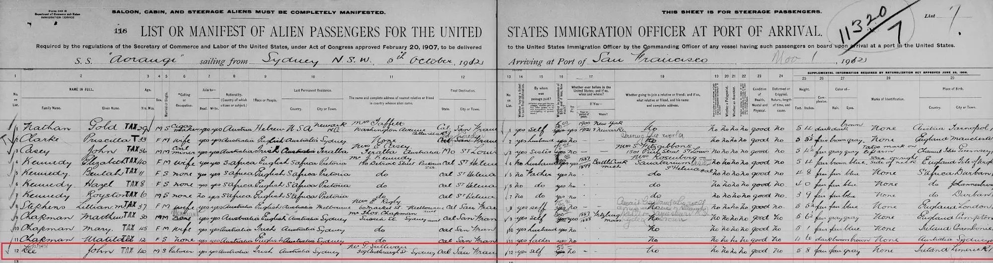 Passenger List record of John Lee, 1912 [Credit: MyHeritage California Passenger Lists, 1893–1957]