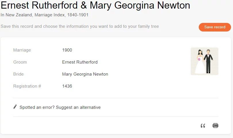 Marriage record of Ernest Rutherford and Mary Georgina Newton [Credit: MyHeritage New Zealand, Marriage Index, 1840–1901]
