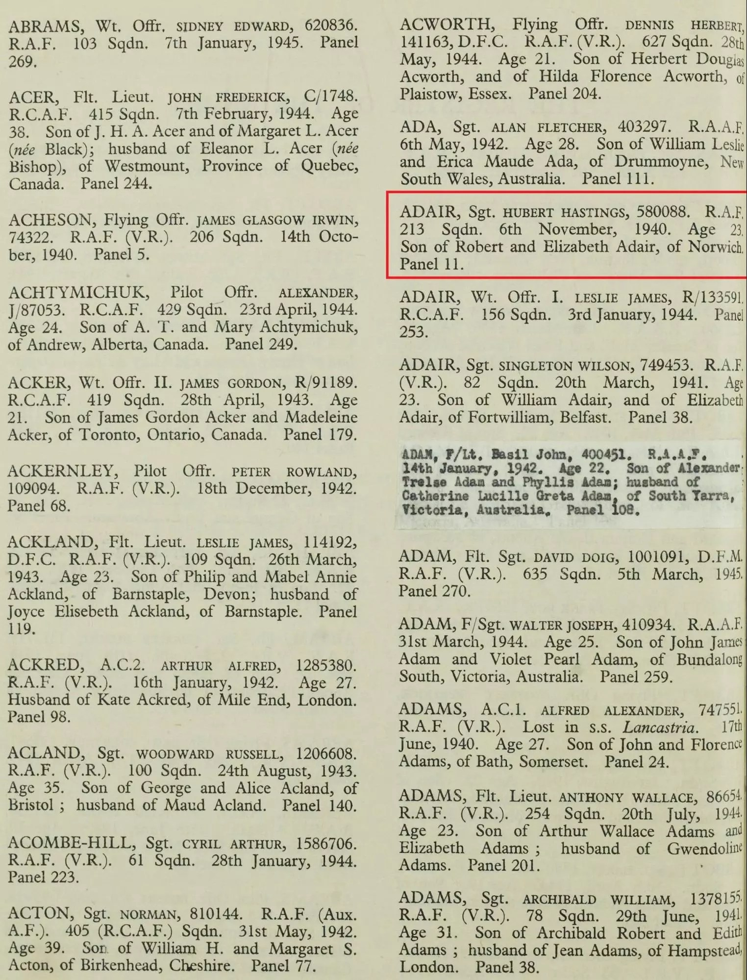 Historical Records: War grave record of Hubert Hastings Adair, 1940. [Credit: MyHeritage Commonwealth War Graves, 1914–1921, 1939–1947]