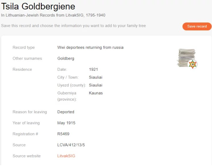 Exile record of Tsila Goldberg [Credit: MyHeritage Lithuanian-Jewish Records from LitvakSIG, 1795-1940]