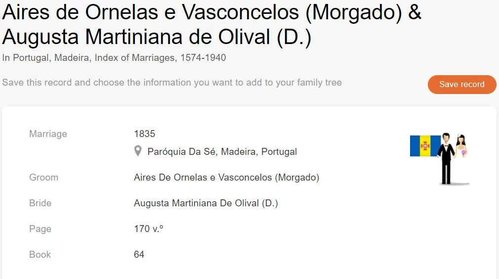 Marriage record of Aires de Ornelas e Vasconcelos & Augusta Martiniana de Olival [MyHeritage Portugal, Madeira, Index of Marriages, 1574–1940]