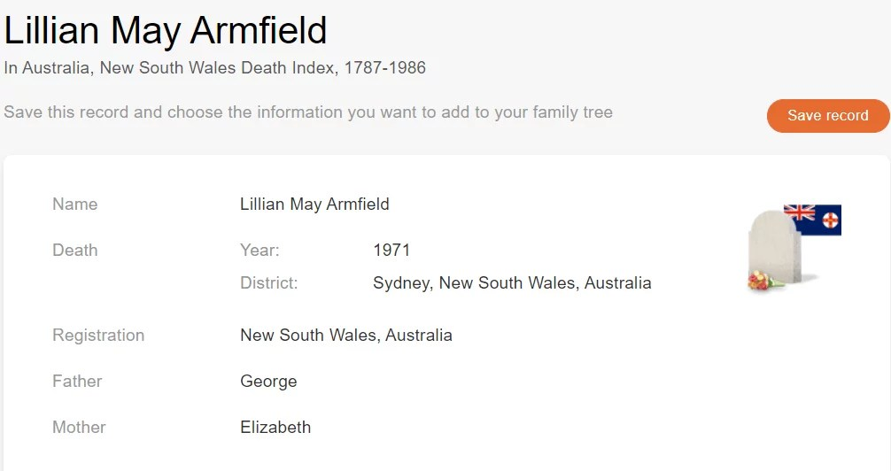 Death record of Lilian May Armfield, 1971 [Credit: MyHeritage Australia, New South Wales Death Index, 1787-1986]