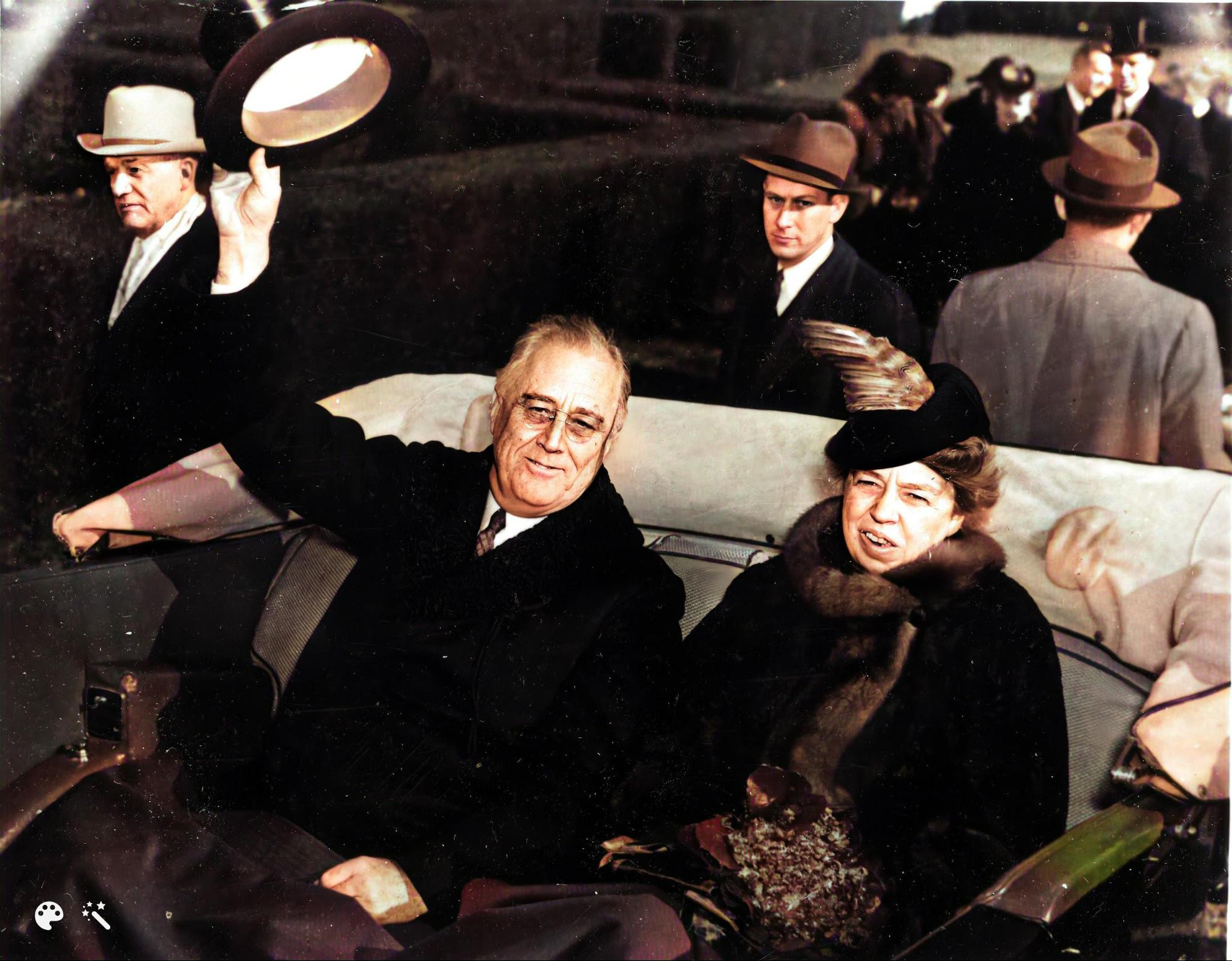 Franklin D. Roosevelt and Eleanor Roosevelt, 1941, colorized and enhanced using MyHeritage [Credit: NARA]