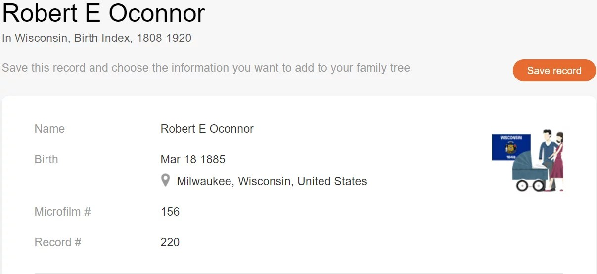 Birth record of Robert E. O'Connor [MyHeritage Wisconsin, Birth Index, 1808–1920]