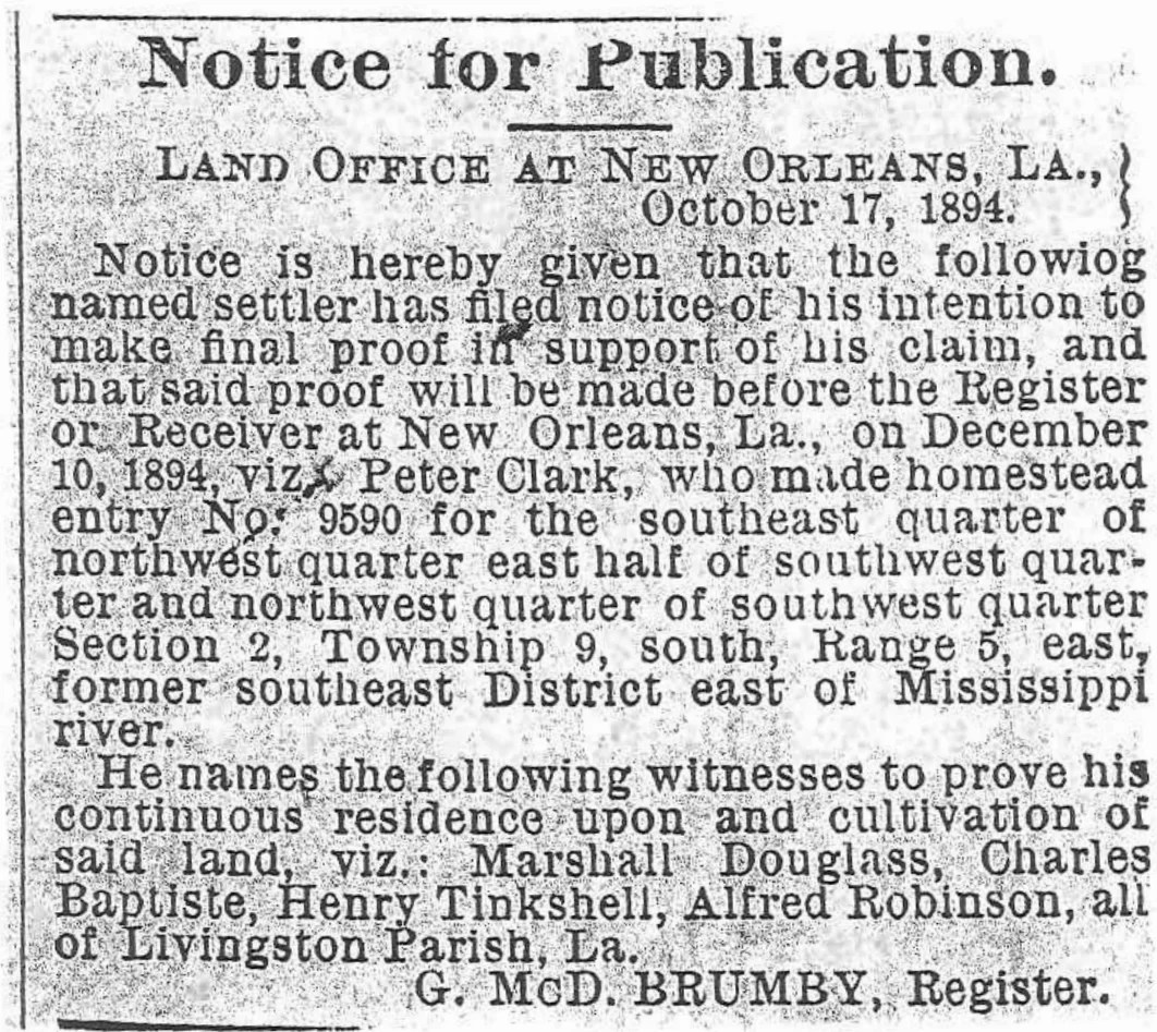 Article listing Peter Clark's homestead application and names of witnesses [Credit: The Southland Newspaper, October 17, 1894.]