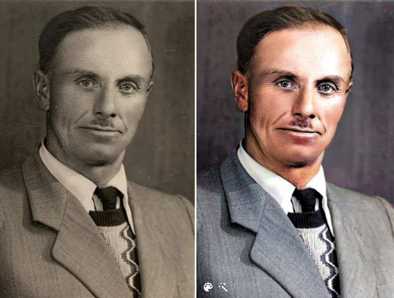 Photo of Stanislaw Jurzyk kept by the sisters he rescued. Image on the right colorized and enhanced on MyHeritage.