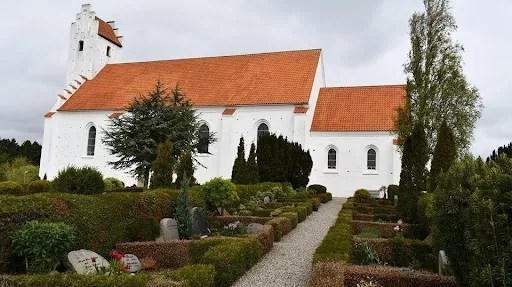 Draby Kirke, or church, in Ebeltoft, Denmark, where Steve's grandparents and aunt are buried and a sister Sara was baptized.