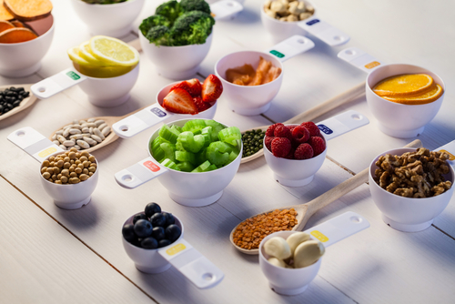 Portions of grains, fruits & veggies in measuring cups
