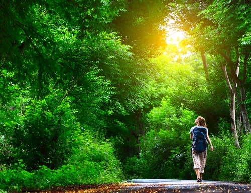 Woman walking on a beautiful green nature trail