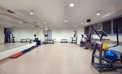 Hotel exercise room with elliptical