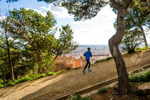 Man walking up a steep hill