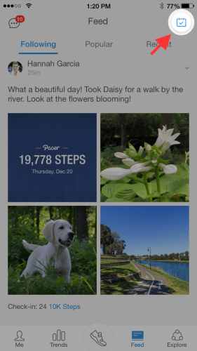 Pacer walking app social feed interface