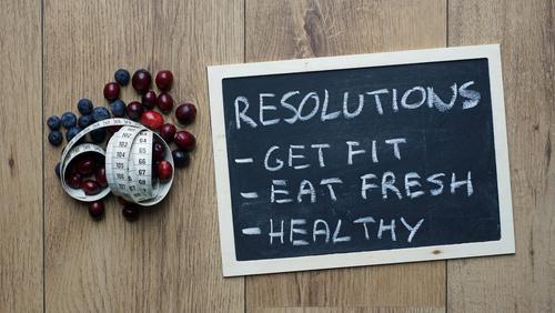 Fitness goals blackboard concept