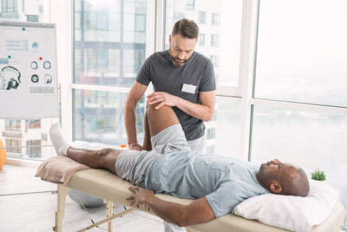 Man undergoing physical therapy