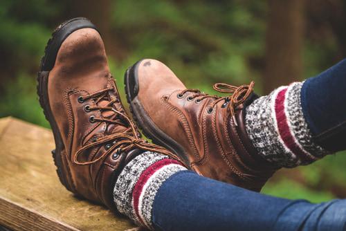 Comfortable walking shoes and socks