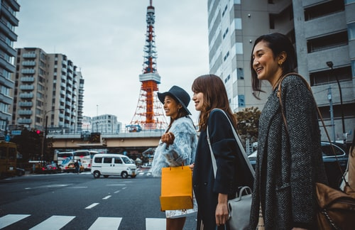 Japanese women walking in Tokyo