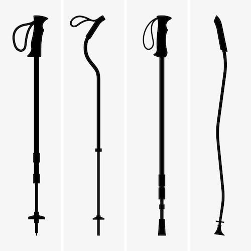 walking or trVariety of walking or trekking polesekking poles