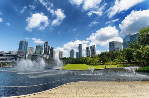 Urban park and lake in Kuala Lumpur