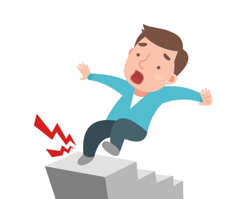 Man falling down stairs cartoon - step safety concept