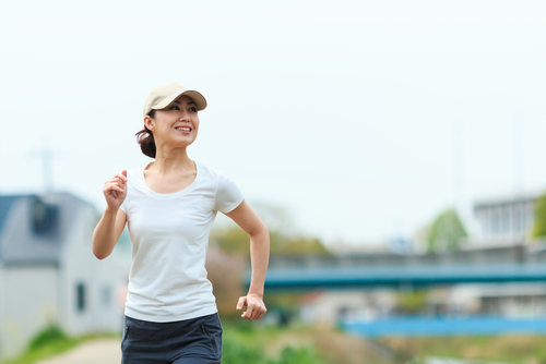 Woman power walking for fitness