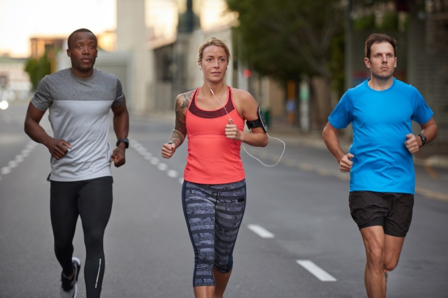 Group running on a city street