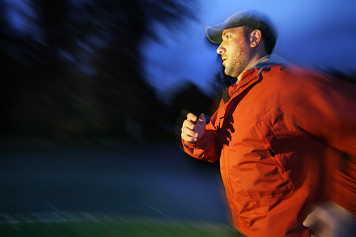 Man walking for fitness after dinner