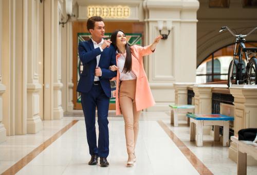 Couple walking indoors