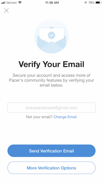 Pacer app email verification method