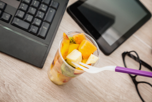 Healthy fruit cup as a snack at work