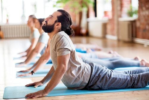 Yoga cobra position back bend