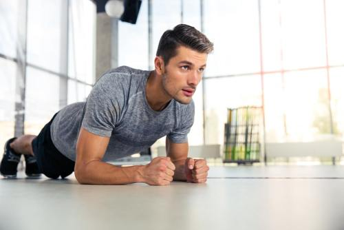 Man doing plank exercise for core strength
