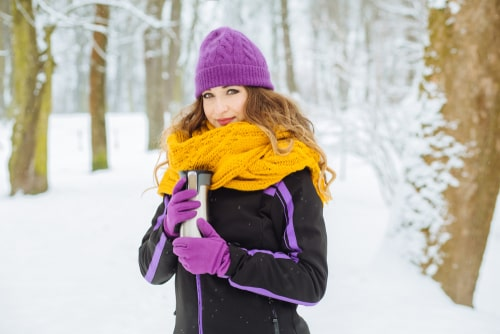 Woman bundled up for winter walking