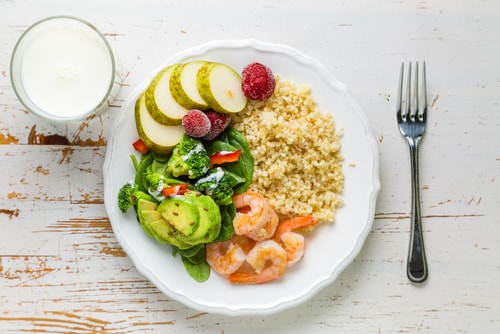 Healthy meal with proper ingredient portions