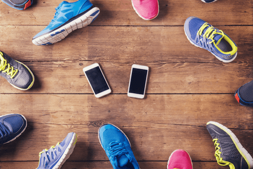 Variety of running and walking shoes and 2 phones