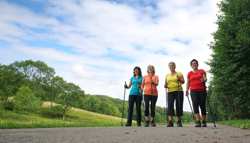 Group of women walking for fitness with poles