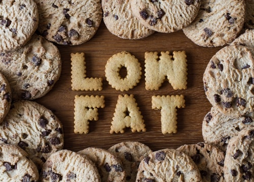 Cookies spelling low fat - healthy eating concept